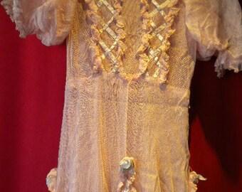 Ribbonwork Gown Romantic vintage -Pink with RIBBONWORK Galore !  (#FFsd9005)