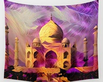 Taj Mahal, Taj Mahal Tapestry, Wall Hanging, Wall Decor, Purple Tapestry, Purple Wall Hanging, Dramatic Tapestry, Monument Tapestry, India