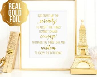 Serenity prayer print, Serenity prayer print wall art, real gold foil Serenity prayer, bedroom decor, God grant me serenity sign