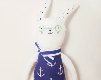 Handmade Toy Made To Order Bunny Animal Glasses Plush Toy Personalized Gift