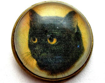 """Black CAT  button, Domed studio glass button. 3/4"""", 22mm. handmade. Vintage style."""