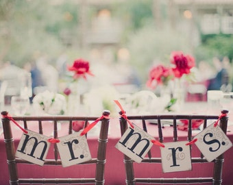 Mr. and Mrs. Wedding Banner   Wedding Chair Decor or Photo Prop   Mr. Mrs. Wedding Signs   Bride and Groom Signs   Wedding Decoration