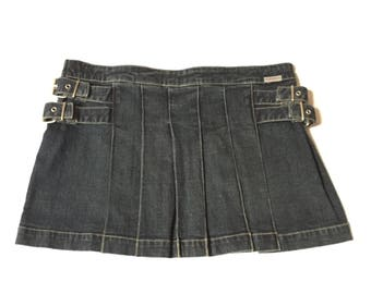 Guess Jean Mini Skirt Pleated Schoolgirl