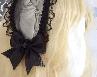 Beautiful black Lolita headdress, headband, black, white, painting, angel