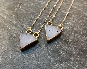 delta... triangle druzy and gold necklace / milky white electroplated druzy triangle and 14k gold filled necklace