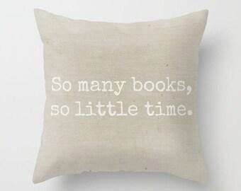 Book Lover Pillow, Library Pillow, Reading Pillow, Office Decor, Farmhouse Pillow, Throw Pillow, Square Pillow, Cottage Home, Beige Pillow