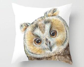 Throw Pillow Cover with pillow insert Indoor ..PRINT art. OWL. animal art - woodland art - fine  -living - childrens - nursery - babies