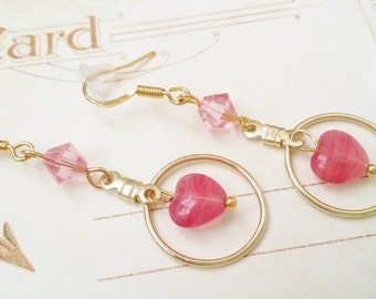 """Gold Hoop Drop Dangle Pink Heart Earrings """"LOVE'S GREETINGS"""" Valentine Earrings Valentines Day Strength for the Journey Strength4theJourney"""