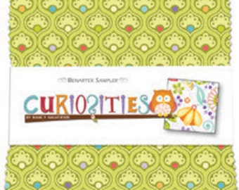 "Curiosities Charm Squares - Pack of  (40) 5"" x 5"" Squares  - Adorable Girl Cotton Quilt Fabric - Nancy Halvorsen - Benartex Fabrics  (W151)"