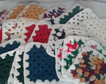 "Handcrafted, 6x6 crocheted square ""LOT"" you will receive 28 squares to add to your collection. Please see photos."