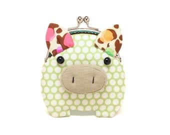 Kleine Caper grün Piggy Kupplung Geldbeutel