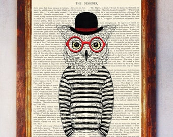 Owl Art Print, Owl with Glasses Print, Owl Wall Art, Book Art Owl Print, Animal Print, Hipster Owl Print, Owl Poster, Digital Download