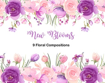Fresh Springtime Flowers in Purple, Pink and Lavender Watercolor Collection, Wedding Clip Art, Watercolor Clipart for DIY invitations