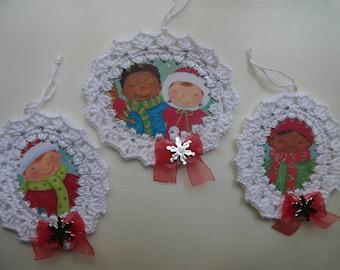 Set of 3 Crochet Christmas Ornaments / Gift Tags / Embellishments