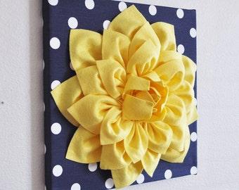 "Wall Flower -Yellow Dahlia on Navy and White Polka Dot 12 x12"" Canvas Wall Art- 3D Felt Flower"