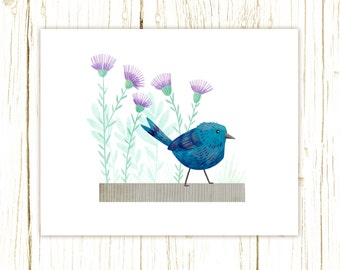 Indigo Bunting Print -- bird art -- bird art 52 birds stephanie fizer coleman illustration blue purple