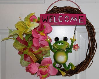 Grapevine Wreath, Spring Froggy Welcome Wreath