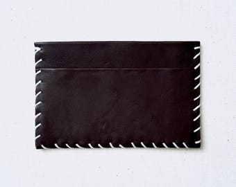 Espresso Whipstitch Leather Card Case