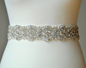 Crystal Luxury Bridal Sash,Wedding Dress Sash Belt,Pearls Rhinestone Sash, Rhinestone Bridal Bridesmaid Sash Belt, Wedding dress sash