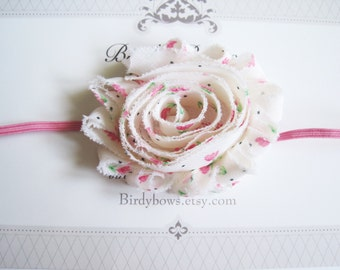 SALE, Shabby Chic Pink Flower Headband, Baby Headband, Newborn Headband, Infant Headband, Baby Girl Bow, Infant Hair Bow,