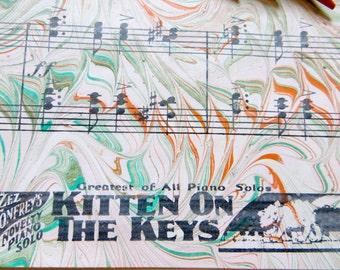 Kitten Plays Chopin - hand marbled vintage sheet music