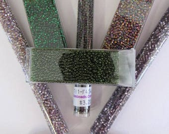 200 Grams Mix Color, 7 Tubes, Size 11, Seed Bead, Purple, Lavender, Matte, Green Lot, Loom Beading, Native Sale Closeout, Britz Beads Supply
