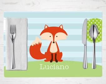 Children's Placemat - Fox Placemat - Personalized with Child's Name - Custom Placemat