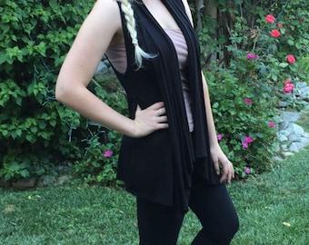 Women's Vest, Black Vest, Woman Black Vest, Vests, Vest Black, Cardigan, Womens Clothing, Solid Black, S/M  L/XL or Plus