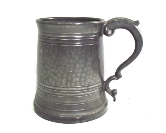 Vintage Hammered English Pewter Tankard with Glass Bottom