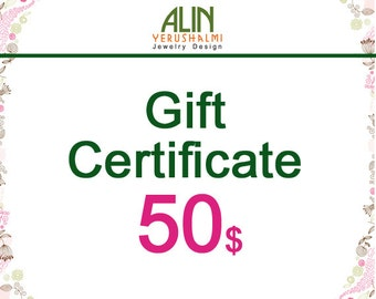 Jewelry Gift Certificate, 50, last minute gift