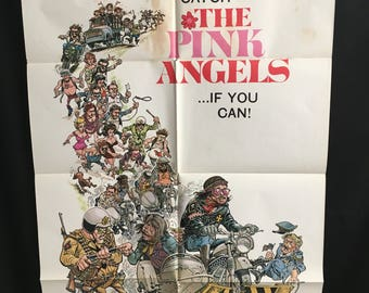 Original 1971 The Pink Angels One Sheet Movie Poster Biker Gang, Motorcycle, MC, Cult