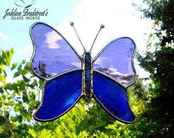 Stained Glass Butterfly Suncatcher Purple Blue Window Decoration Butterfly Sun Catcher Home Decor Stained Glass Sun Catcher Butterfly Art