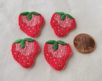 4 Vintage Embroidered Strawberry Appliques Trim