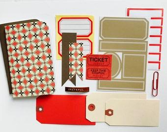Fall Brown and Red Travelers Notebook Kit . Gratitude Journal Field Notes Pocket Micro A6 A5 Passport Micro TN Refill Insert Midori Fauxdori