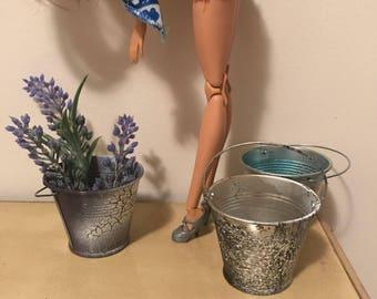 Set of 3 - Hand spray painted mini metal buckets