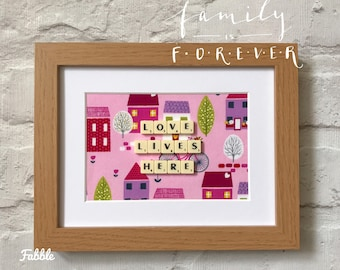 Love lives here - new home housewarming gift - first home - home sweet home - pink love quote wall art - scrabble art frame - hallway decor