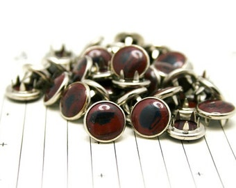 Special Buy!!! 24 Maroon & Black Marbled Cowgirl Snaps Pearl Prong Western Snaps