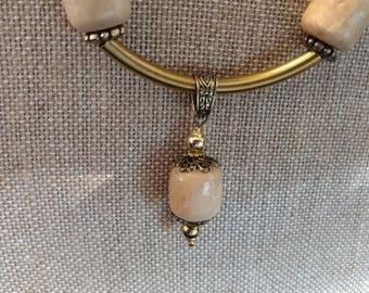 Wood and Antique Brass, Necklace & Bracelet