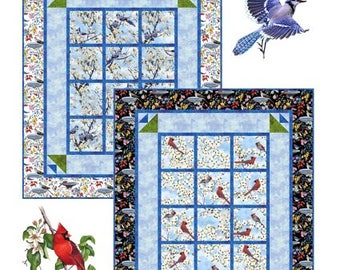 """Quilt Pattern - Birds Of A Feather Quilt or Wall Hanging Pattern 30"""" x 36"""" - PDF INSTANT DOWNLOAD"""