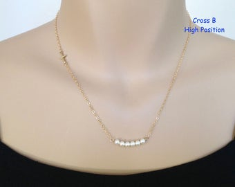 Gold Sideways Cross Necklace, 14Kt Gold Filled, Cross and Pearl, Tiny Gold Cross, Swarovski Pearl Necklace, Pearl Bar, June Birthstone Cross