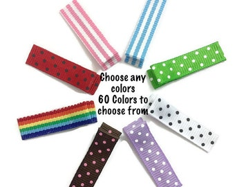 50 Mini Dots & Stripes Alligator Clips, 35mm Single Prong, No Slip Hair Clips, Lined Mini Clips, Fully, Partially Lined, Mini Hair Clips