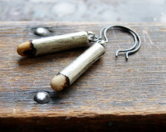 Antique Fertility Bead Earrings with oxidized sterling silver earwires