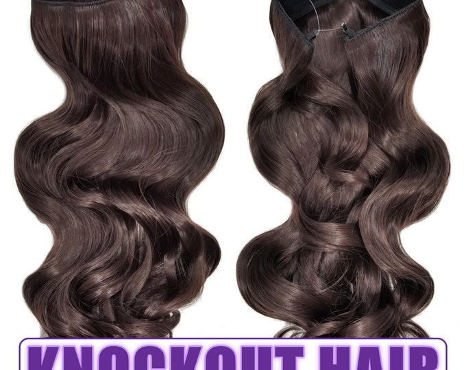 "Fits like a Halo Hair Extensions 20"" - 150 Grams 100% Premium Fiber Wavy Hair (Medium Brown #06)"