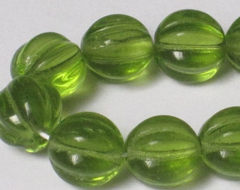 8 mm Olivine Czech Pressed Glass Fluted Round (Full 16 inch strand)  90-6-186