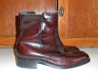 Florsheim Mens Boots Leather Boots Mens Dress Boots Ankle Boots Hipster Shoes Vintage Boots 70s Boots Black Cherry