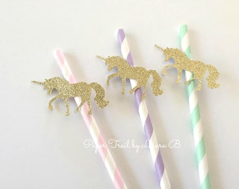 Unicorn Party Paper Straws with Gold Glitter.  Magical Unicorn Decor.  Mint, Pink and Lavender Decorations.  20CT
