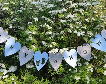 Pale blue and silver glitter baby shower bunting. Baby footprint baby shower decoration banner. Heart baby shower bunting.