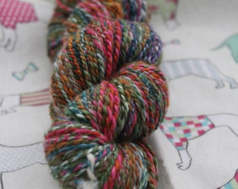 Hand spun, merino and silk yarn. DK weight. multi coloured