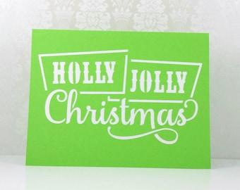 "Boxed Christmas Cards, ""Holly Jolly Christmas"", Handmade Christmas Cards, Christmas Greeting Cards, Handmade Greeting Cards, Holiday Cards"