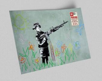 ACEO Banksy Croyola Shooter Graffiti Street Art Canvas Giclee Print